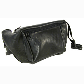 Recycled Tire Tube Waist Pack Measures: 10.5 wide x 6.5 high x 2.5 deep