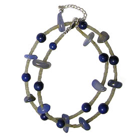 """Blue Stone Quartz Double Strand Bracelet crafted by Artisans in Afghanistan   Measures 8-1/2"""" in length, and secures with a toggle closure"""