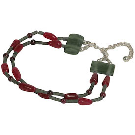 """Ruby Teardrop Bracelet with Garnet Beads and Fluorite Spacers crafted by Artisans in Afghanistan   Double Strand Measures 7-1/2"""" in length, secured with a lobster clasp and 2"""" extender"""