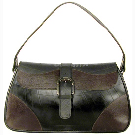 Medium Tire Tube Handbag w/ Buckle Flap and Coffee Accents<br width=275 >Measures: 8 high x 13.5 wide x 4 deep