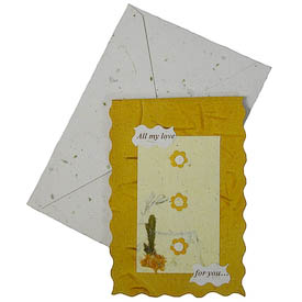 """""""All my love for you...""""   crafted by Artisans in Peru from Handmade Paper   Measures 5"""" x 3-1/2"""", includes handmade paper envelope"""