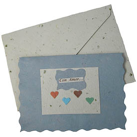 """""""Con Amor...""""   crafted by Artisans in Peru from Handmade Paper   Measures 3-3/4"""" x 5"""", includes handmade paper envelope"""
