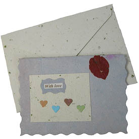 """""""With Love""""   crafted by Artisans in Peru from Handmade Paper   Measures 3-3/4"""" x 5"""", includes handmade paper envelope"""