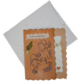 """""""In this special day...""""   crafted by Artisans in Peru from Handmade Paper   Measures 5-1/4"""" x 4-1/2"""", includes handmade paper envelope"""