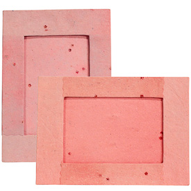 """Large Pink Handmade Paper Frames with Flower Accents crafted by Artisans in Peru  Measures 8-1/4"""" high x 11-3/4"""" wide x 3-1/4"""" deep with easel back, displays 5-1/8"""" x 7-3/4"""" images"""