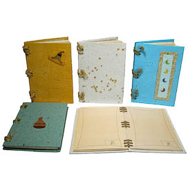 """Large Horizontal Handmade Paper Notebooks in Assorted Colors and Designs crafted by Artisans in Peru  Measures 8-1/4"""" high x 6"""" wide, opens horizontally with ~75 pages"""
