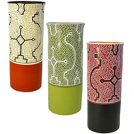 """Shipibo Flower Vases crafted by Artisans in Peru   Measures 13-1/2"""" high x 5-1/2"""" diameter"""