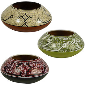 "Shipibo Rounded Pots crafted by Artisans in Peru   Measures 5"" high x 10"" diameter"