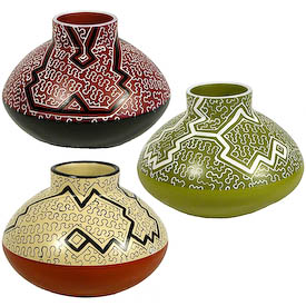 "Shipibo Rounded Pots with Short Stove Stack Tops crafted by Artisans in Peru   Measures 5-3/4"" high x 7-1/2"" diameter"