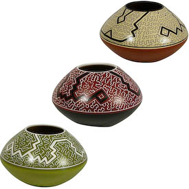 "Shipibo Rounded Pots with Tapered Tops<br/ width=275 >Crafted by Artisans in Peru   Measures 5"" high x 7-3/4"" diameter"