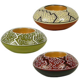 "Shipibo Tea Light Holders crafted by Artisans in Peru   Measures 2"" high x 4-3/4"" diameter"