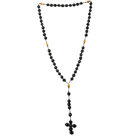 """Rosary of Large Black Seeds crafted by Artisans in Peru   Measures 22-1/2"""" long total, 15"""" in the loop and 7-1/2"""" at the cross"""