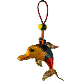 "Dolphin Cotton Ornament crafted by Artisans in Thailand   Measures 4"" high x 5-1/2"" wide x 3/4"" deep, with 3-1/4"" drop"