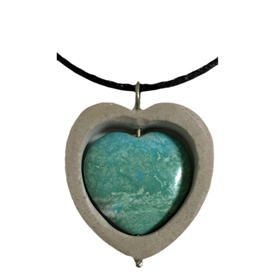 """Soapstone and Turquoise Heart Pendant crafted by Artisans in Afghanistan   Measures 1-1/4 high x 1-3/8"""" wide x 1/4"""" deep, includes a 16-1/2"""" chain with hook and eye clasp"""