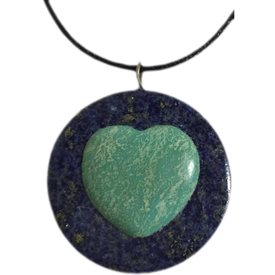 "Lapis and Turquoise Heart Pendant crafted by Artisans in Afghanistan   Measures 1-1/4"" in diameter, includes a 16-1/2"" chain with hook and eye clasp"