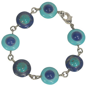 "Lapis and Turquoise Peacock Bracelet crafted by Artisans in Afghanistan   Measures 6-1/2"" in length, 5/8"" diameter pieces, and secures with a lobster clasp"