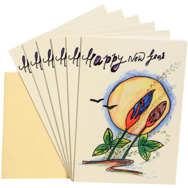 Happy New Year Gift Cards - Package of 6   Measures 6-3/4 x 4-3/4