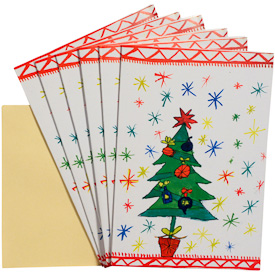 Tree Holiday Gift Cards - Package of 6   Measures 6-3/4 x 4-3/4