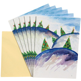 Forest Holiday Gift Cards - Package of 6   Measures 6-3/4 x 4-3/4