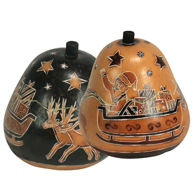 """Santa in Sleigh Gourd Boxes on Natural / Black Background from Peru   Natural Measures 4-1/2"""" high x 3-3/4"""" diameter"""