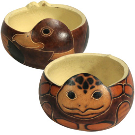 "Turtle and Duck Gourd Card Holders Crafted by Artisans in Peru Measures 2-3/4"" high x 3-1/2"" diameter"