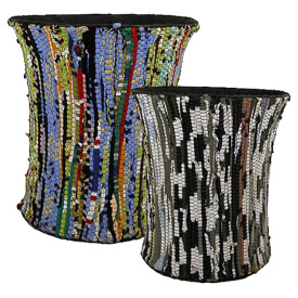 Wire and Recycled-Cloth Wastebasket Large Measures: 12 tall x 11 diameter Small Measures: 9-1/2 tall x 9-1/2 diameter