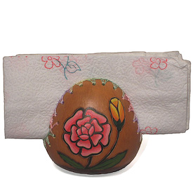 """Assorted Flower Gourd Napkin Holders Crafted by Artisans in Peru Measures 4"""" high x 3-1/2"""" diameter"""