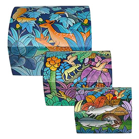 "Hand Painted Boxes crafted by Artisans in Bolivia   Large Measures 4"" high x 5-3/4"" wide x 4-3/4"" deep"