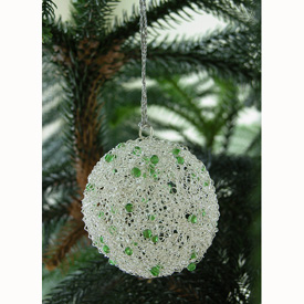 Silver Wire Ball Christmas Ornament w/ Green Beads Measures: 3 diameter