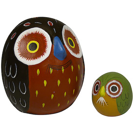 "Ceramic Owl Bank with Baby Crafted by Artisans in Peru Measures: 5-1/2"" high x 4-1/2"" diameter"