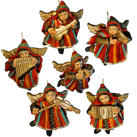 """Set of Six Ceramic Angel Ornaments - Crafted by Artisans in Peru Each Angel Measures: approximately 2-3/4"""" high x 2-1/2"""" wide"""