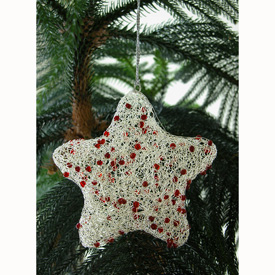 Silver Wire Star Christmas Ornament w/ Red Beads Mearsures: 6 high x 6 wide