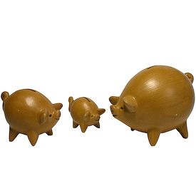 "Natural Piggy Banks Measurements: Large: 5-3/4"" high x 5"" wide x 8"" long Medium:4-1/4 high x 3-1/2 wide x 5-1/2long Small:2-3/4 high x 2-1/4 wide x 3-3/4 long"