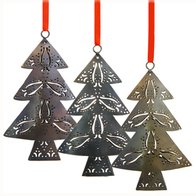 Iron, Bronze, and Copper Christmas Tree Ornaments made from Recycled Metal Measures: 6-1/4 high x 4 wide