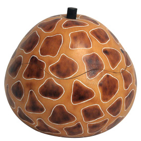 "Giraffe Print Gourd Box crafted by Artisans in Peru    Measures 4-1/4"" high x 4-1/4"" diameter"