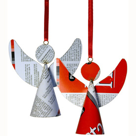 Angel Christmas Ornaments made from Recycled Metal Measures: 4-1/2 high x 5 wide