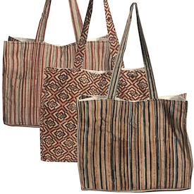 "Assorted Print Mathi Kalamkari Shoulder Bags Measure 12"" high x 14"" wide x 5"" deep with 14 drop"