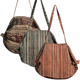 """Assorted Ram Kalamkari Accordion Bags Crafted by Artisans in India   Measure 15"""" high x 15"""" wide with 12 drop"""