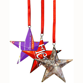 Star Christmas Ornaments made from Recycled Metal Measures: 4-1/2 high x 4-1/2 wide