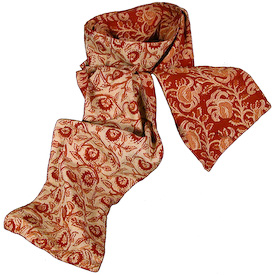 """Two-sided Floral Print Kalamkari Scarves Crafted by Artisans in India  Measures 74"""" long x 7-3/4"""" wide"""