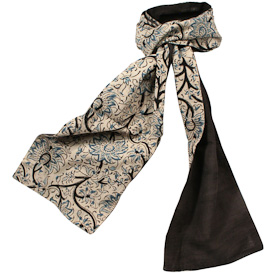 "One-sided Floral Print Kalamkari Scarves Crafted by Artisans in India  Measures 74"" long x 7-3/4"" wide"