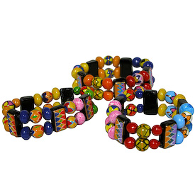 "Assorted Two-Threaded Ceramic Bead Bracelets Crafted in Guatemala   Each Measures 1"" wide x 3"" elastic diameter"