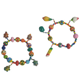 "Ceramic Charm Bracelets crafted by Artisans in Guatemala   Each Measures 1/4"" wide x 3"" diameter"