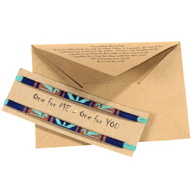 "Mayan Friendship Bracelets crafted by Artisans in Guatemala   Each Card Measures 4-1/4"" high x 6"" wide, with two 11"" bracelets"