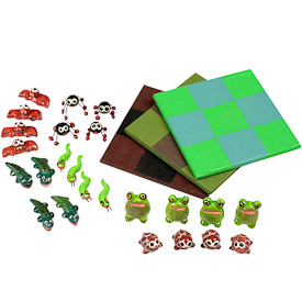 "Assorted Mayan Tic-Tac-Toe Games crafted by Artisans in Guatemala   Each Board  Measures 3-1/2"" x 3-1/2"", with 1/4-3/4"" game pieces"