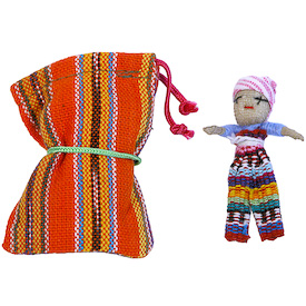 "Single Large Worry Dolls in Woven Bags crafted by Artisans in Guatemala    Each Bag Measures 2-3/4"" tall x 2-1/4"" wide, with a 2"" tall doll inside"