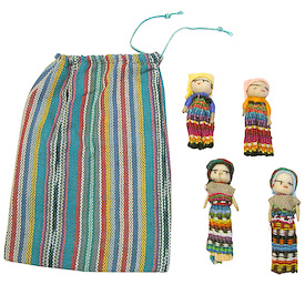 "Four Worry Dolls in a Bag crafted in Guatemala   Each Bag Measures 5-1/4"" tall x 4"" wide, with 2-1/4"" tall dolls inside"