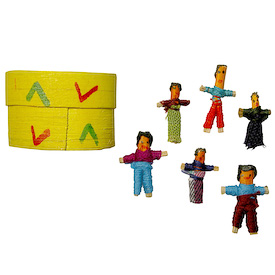 "Six Worry Dolls in a Wooden Box from Guatemala    Each Box Measures 1-1/4"" high x 2"" wide x 1"" deep, with 1"" worry dolls inside"