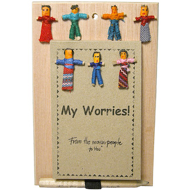 "Worry Doll Notepads crafted by Artisans in Guatemala   Each Notepad  Measures 4-1/4"" high x 2-3/4"" wide Approximately 75 pages and writing pencil is included"