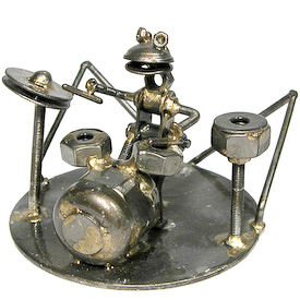 Frog Drummer Junkyard Critter Crafted by Artisans in India  Measures 2-3/4 high x 4-3/4 wide x 4-1/2 deep